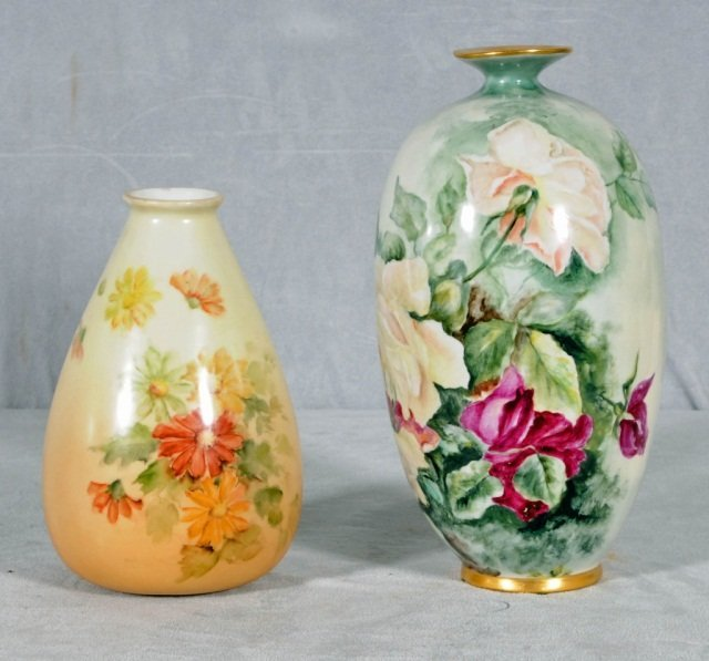 14: 2 LIMOGES VASES.  CONSISTING OF A  YELLOW & RED ROS