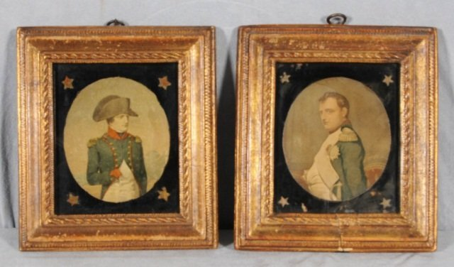 15: 2 NAPOLEONIC OVAL PICTURES IN GILT FRAMES. MADE BY