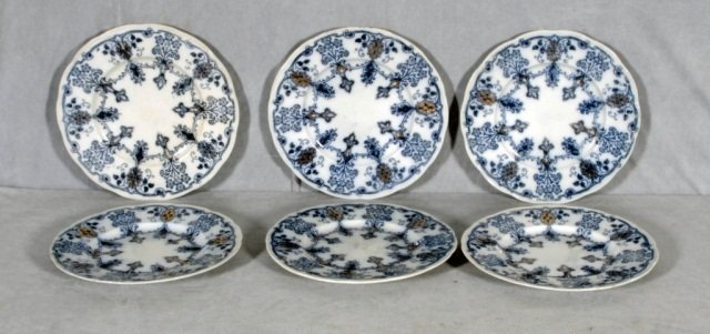 "20: 6  ROUND ENGLISH  FLO   BLUE  PLATES.  ""VIRGINIA"""