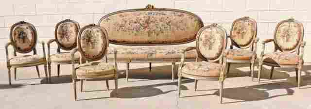 180: 18th C FRENCH LOUIS XVI  7 PC. SALON  SET. CONSIST