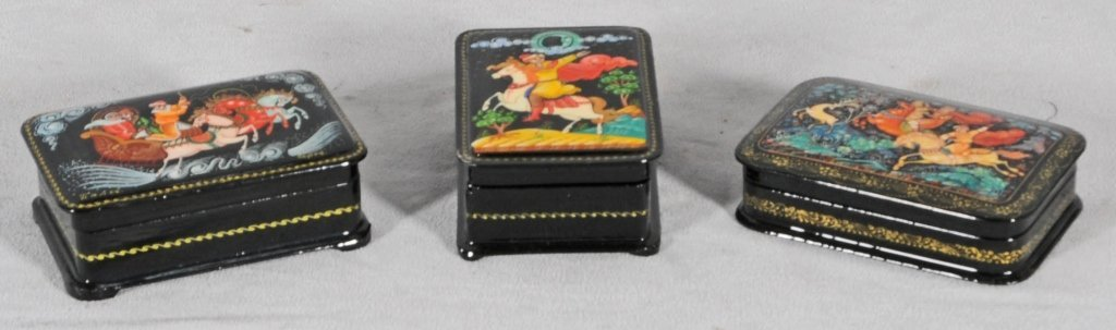 3 RUSSIAN LACQUER BOXES. ALL HAVE MULTI-COLOR FIGURAL &