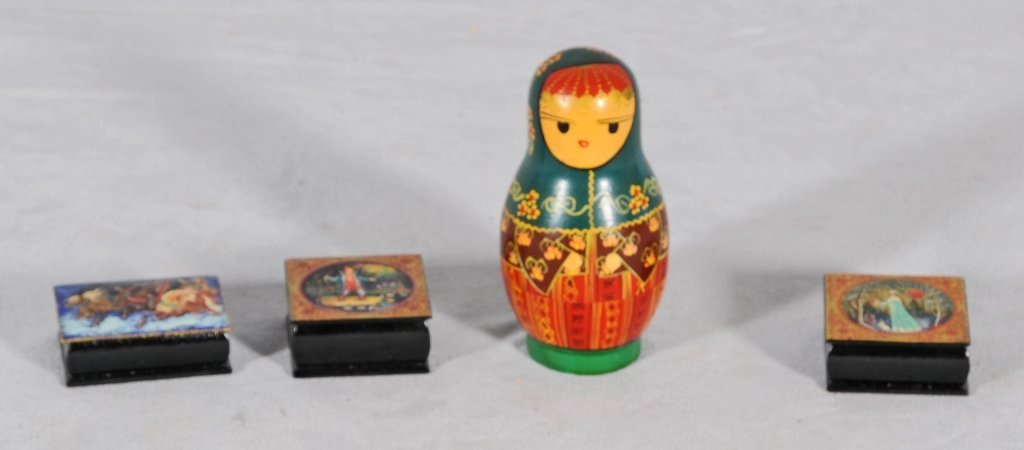 4 RUSSIAN LACQUER PIECES. CONSISTING OF 3 SM. BOXES & A