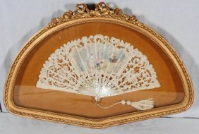 M.O.P. AND LACE HAND PAINTED FAN. GILT CARVED SHADOW BO