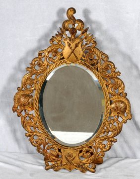OVAL GILT METAL OPENWORK FRAMED TABLE MIRROR. A KNIGHT'