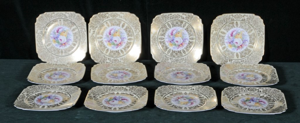 12 PORCELAIN SQUARE SALAD PLATES. MULTI-COLORED FLORAL