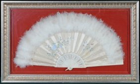 PAINTED SILK & CARVED STICK LADIES FAN. MULTI-COLOR FLO