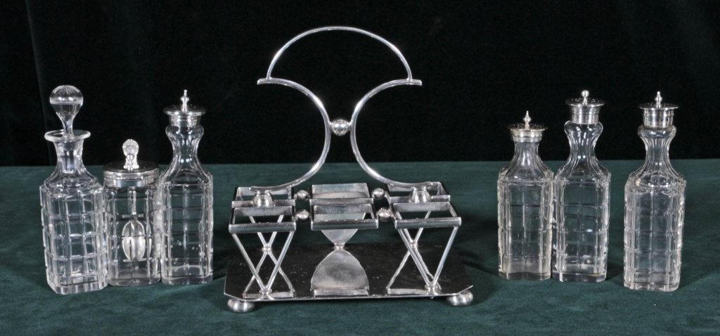 "ANTIQUE ENGLISH ""OLD PLATE"" 6 BOTTLE CRUET SET. SILVER"