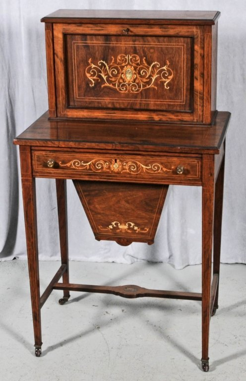 ANTIQUE ROSEWOOD INLAID SEWING TABLE/ DESK INLAID BONE