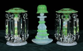3 PC. OPALINE GLASS VANITY/DRESSER SET. CONSISTING OF A