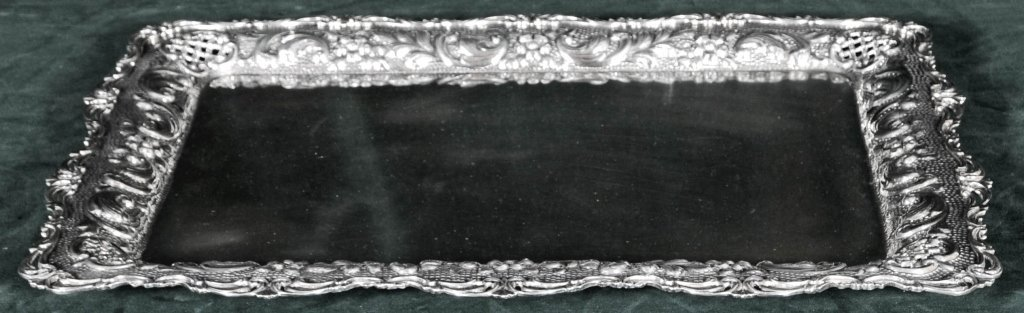 STERLING SILVER TRAY. RAISED FLORAL OPEN WORKED BORDERS