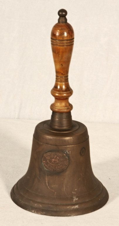 LARGE PONY EXPRESS BRONZE HAND HELD BELL WITH A WOODEN