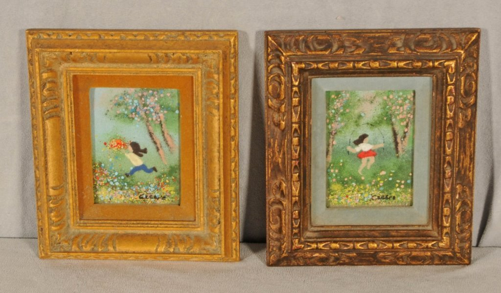 2 SMALL ENAMEL ON COPPER PLAQUES OF CHILDERN PLAYING.