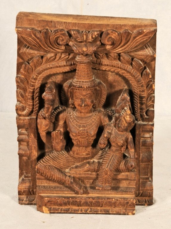 THAI  WOOD CARVED PANEL OF A SEATED GODDESS. CHIP FRONT
