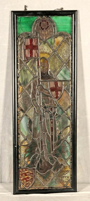 """STAINED GLASS WINDOW  OF """"SAINT GEORGE FOR MERRY  ENGLA"""