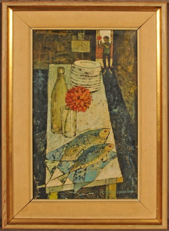 OIL PAINTING ON BOARD.  STILL LIFE DEPICTING  FISH ON