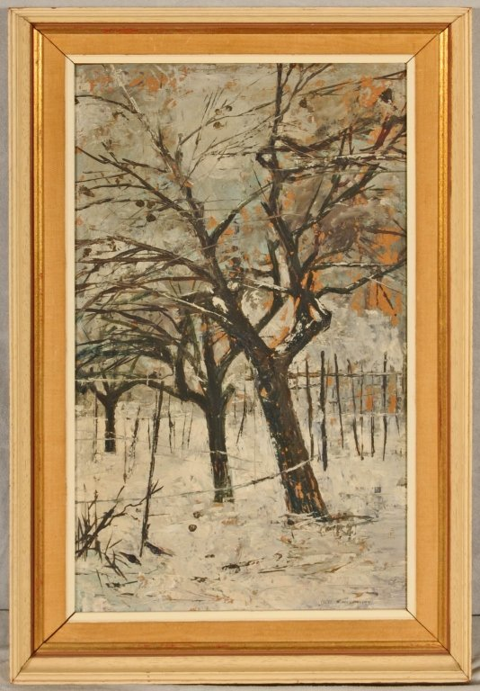 OIL PAINTING ON BOARD.  WINTER LANDSCAPE WITH TREES.  S