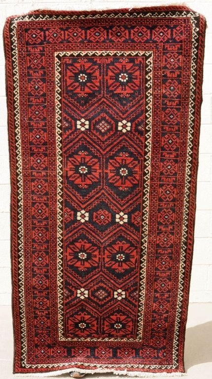 RED  AND  BLACK  BELOUCH  THROW  RUG.  GEOMETRIC DESIGN