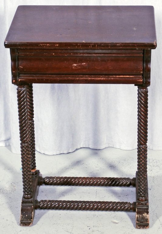 MAHOGANY END TABLE. TURNED SUPPORTS  AND STRETCHERS  WI
