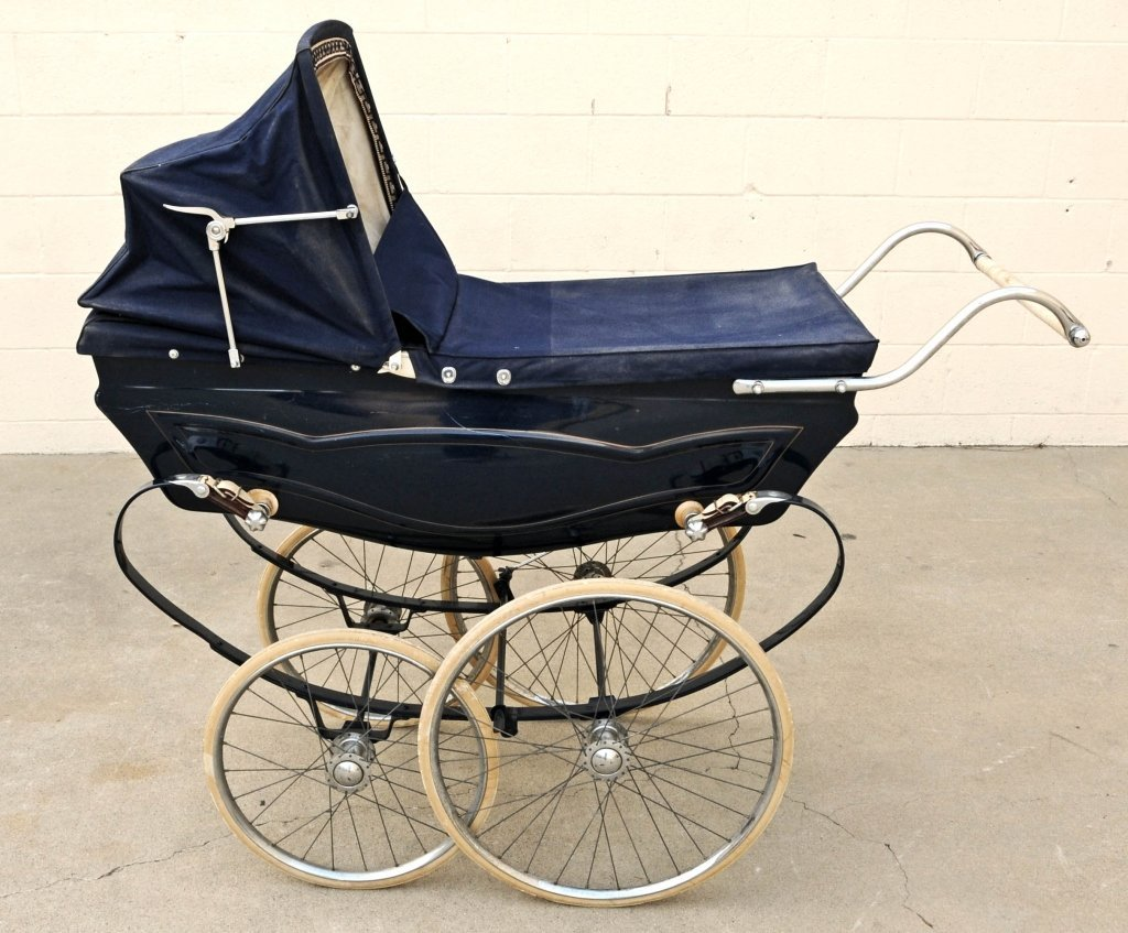 "ENGLISH  SWAN  BABY  CARRIAGE. GOOD. 50""  H  X  54""  W"