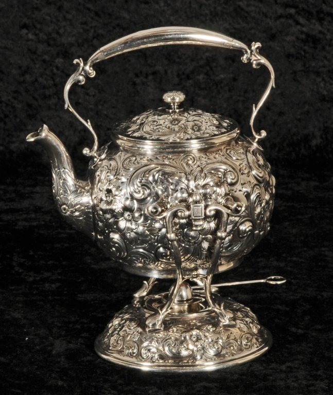 HOWARD & CO.  N.Y.  STERLING SILVER  TEAPOT  ON STAND.