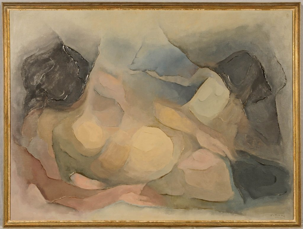 OIL PAINTING ON CANVAS OF A NUDE, RECLINING WOMEN. SIGN