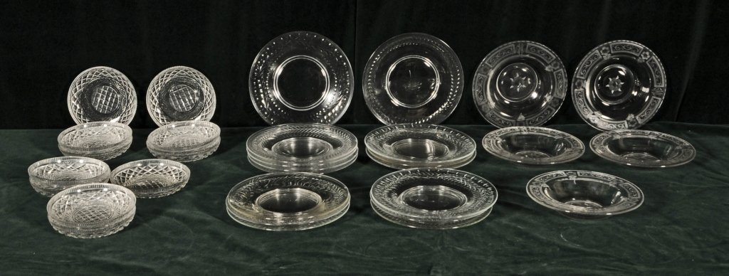 31 PC.  CUT GLASS PLATES  AND SHALLOW  BOWLS. CONSISTIN