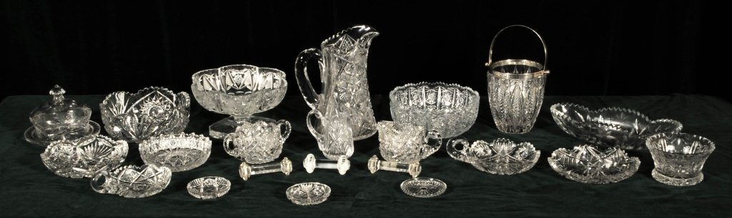 21 CUT GLASS PIECES.  CONSISTING OF BOWLS, ICE BUCKET,