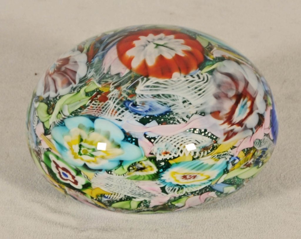 """LARGE MILLE FLORE  GLASS PAPER WEIGHT. GOOD. 4 1/2"""" H X"""