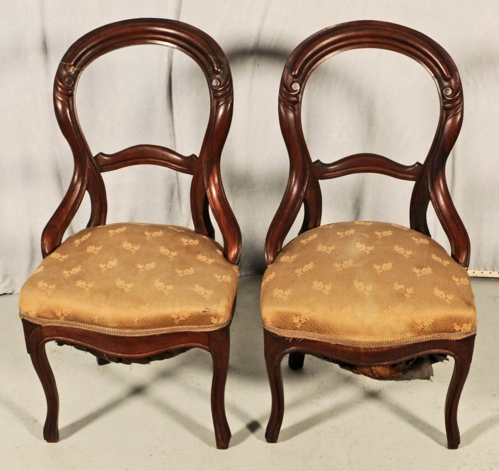 PAIR OF  ANTIQUE VICTORIAN CARVED SIDE CHAIRS. NEED WOR