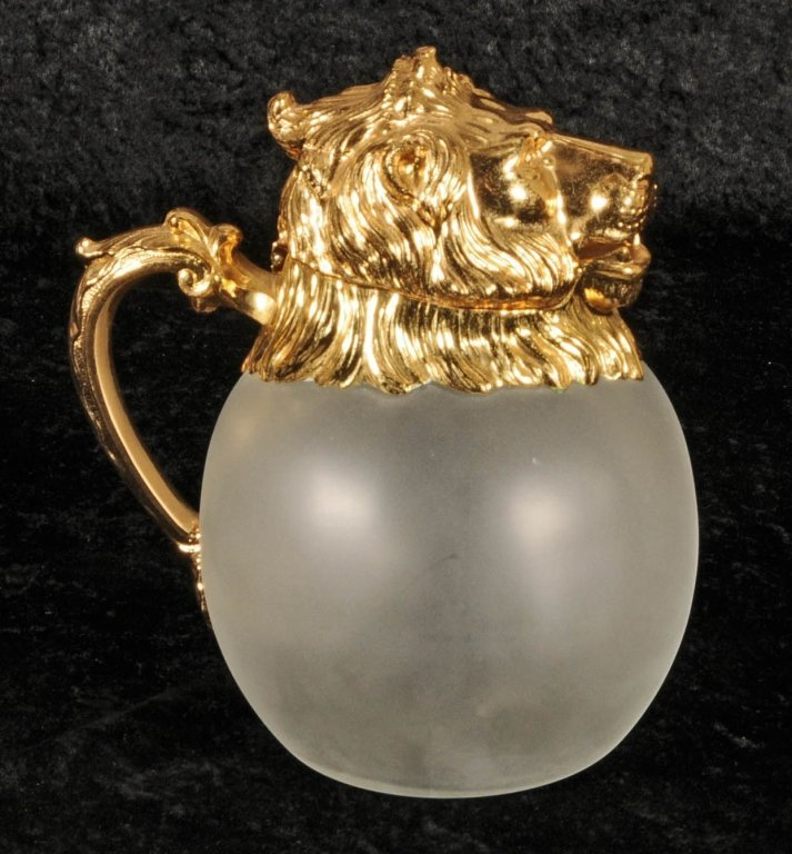 FROSTED GLASS DECANTER.   GILT METAL LION HEAD TOP,  SP
