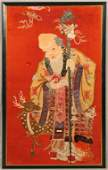CHINESE RED SILK EMBROIDERED PANEL OF A  WISE MAN AND