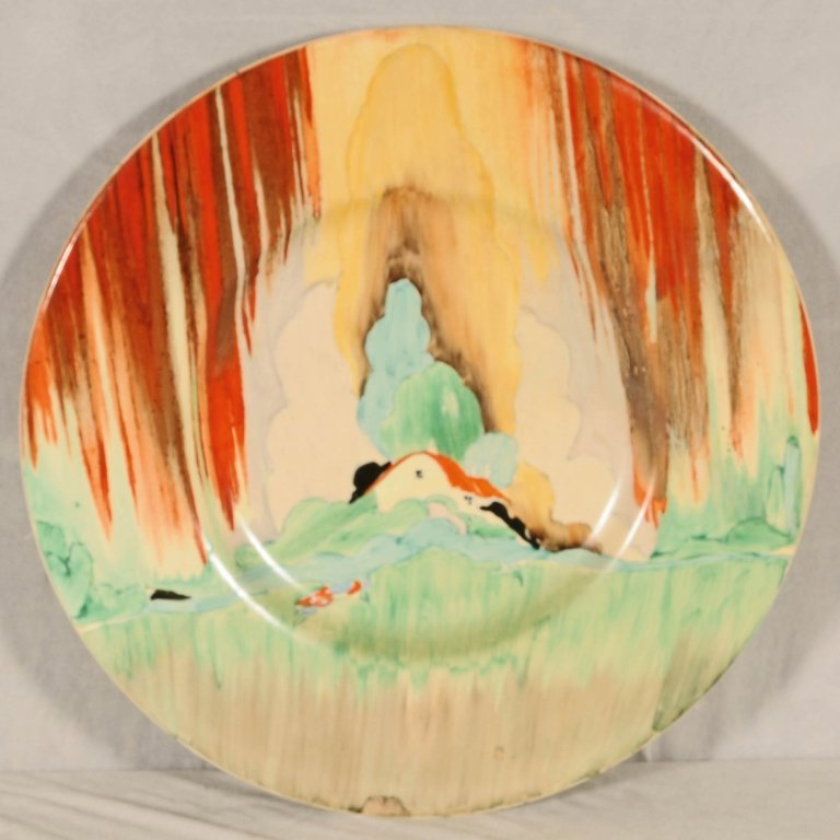 LARGE ENGLISH  CLARICE CLIFF  POTTERY  WALL PLATE. DEPI