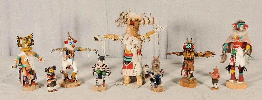 9 AMERICAN  INDIAN KACHINA DOLLS.   HAND PAINTED AND  E