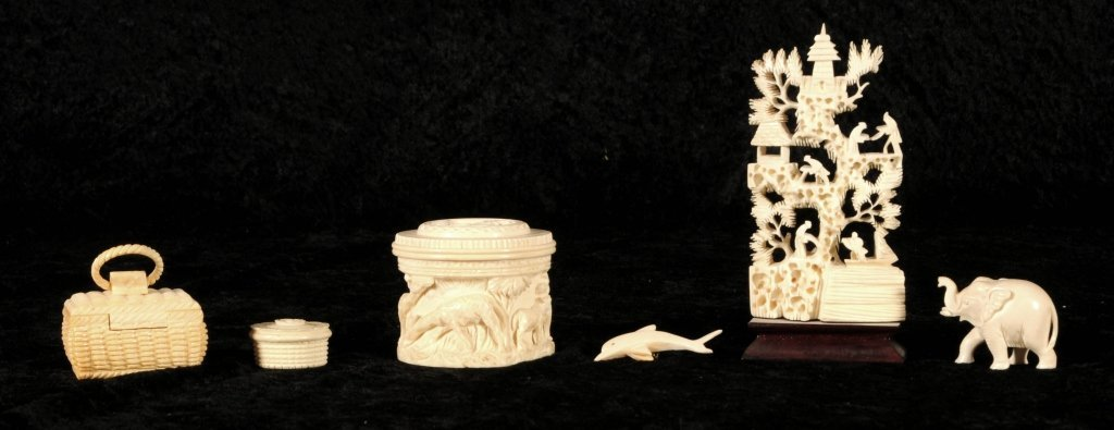 6  CARVED IVORY PCS.  CONSISTING OF A  LANDSCAPE PANEL,