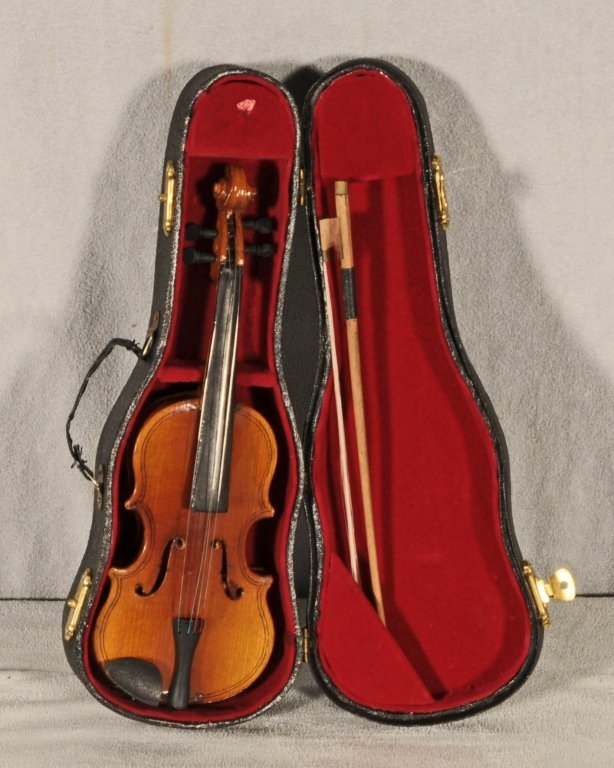 WOOD CARVED MINIATURE  VIOLIN.    FITTED CASE. GOOD. 7