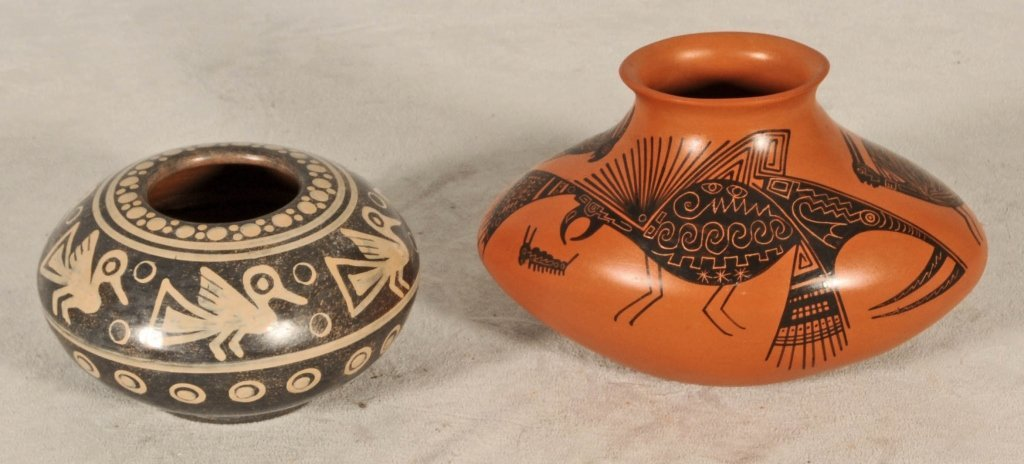 """2 POTTERY BOWLS.  ANIMAL AND BIRD DECORATION. 4"""" H X 6"""