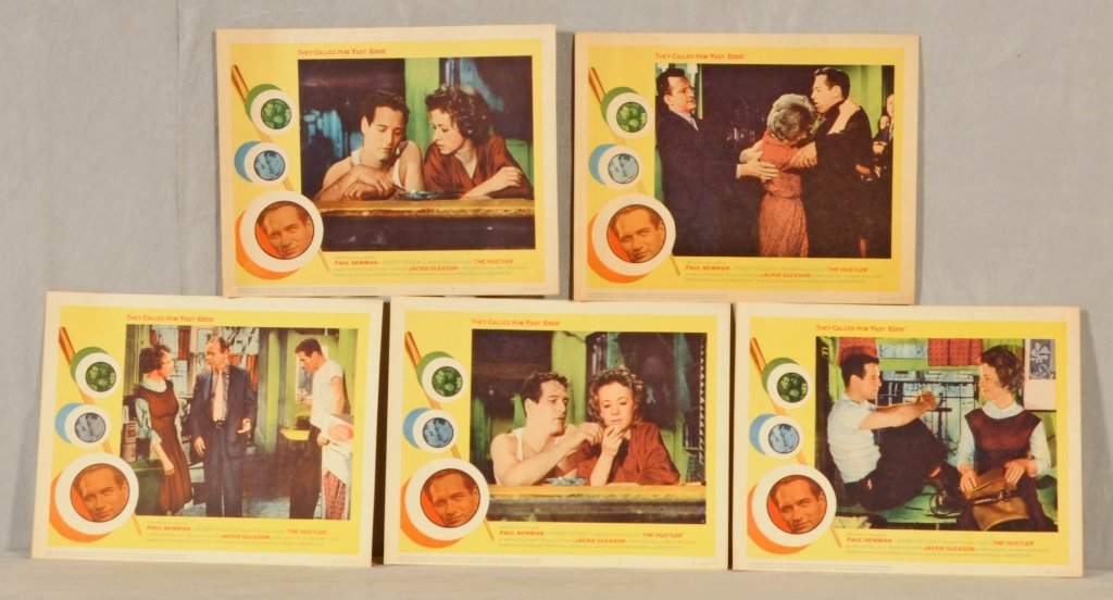 """5  MOVIE CARDS OF """"THE HUSTLER"""",  STARRING PAUL NEWMAN"""