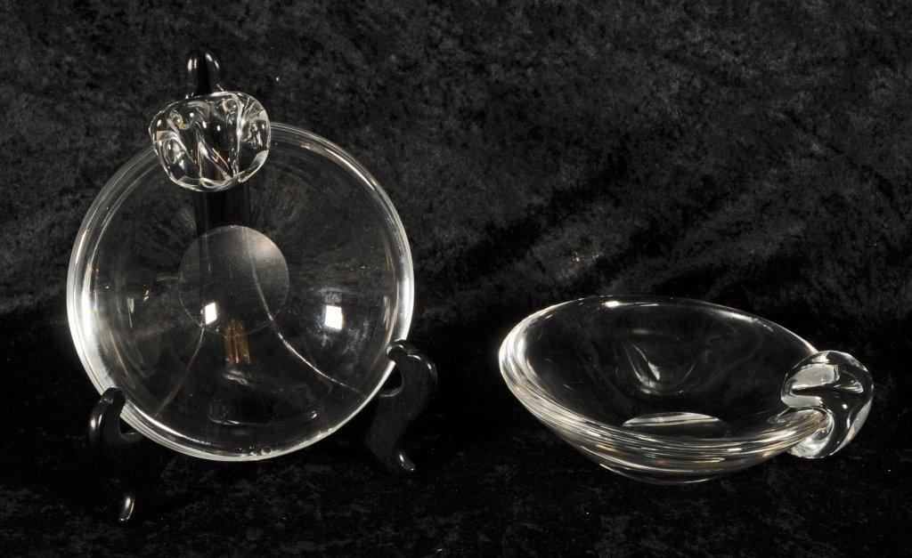 PAIR OF STEUBEN GLASS SHALLOW BOWLS.  SINGLE SHAPED  HA