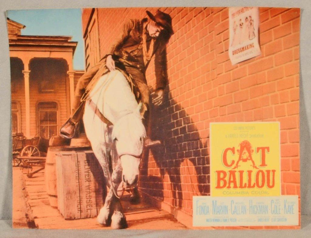 "MOVIE CARD FOR "" CAT BALLOU"".   STARRING  JANE FONDA, L"