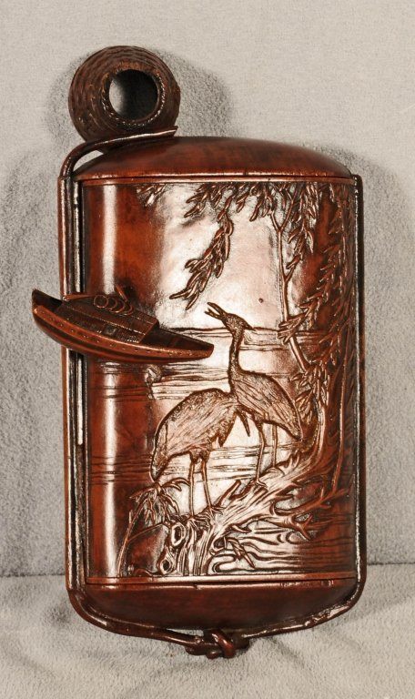 CHINESE WOOD CARVED BOX. CARVED BIRD  AND TREE DECORATI