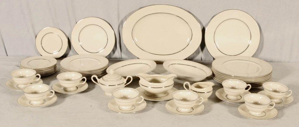 46 PC.  WHITE & SILVER BANDED CASTLETON  CHINA DINNERWA