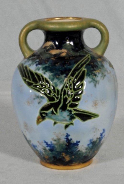 BLUE & GREEN POTTERY TWO HANDLE VASE. INCISED BIRD DECO