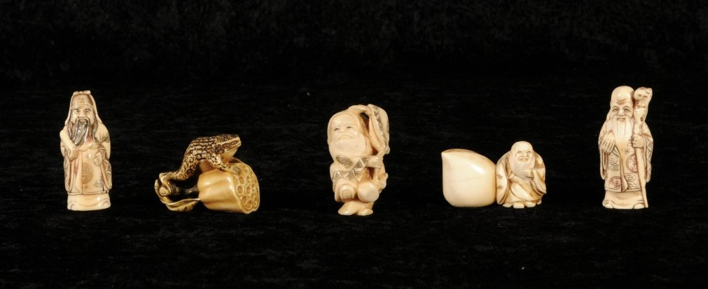 5 IVORY NETSUKIES. CONSISTING OF 4 FIGURAL AND A FROG N