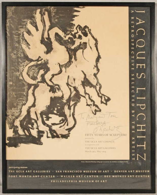 """JACQUES LIPCHITZ POSTER. ENT. """"FIFTY YEARS OF SCULPTURE"""