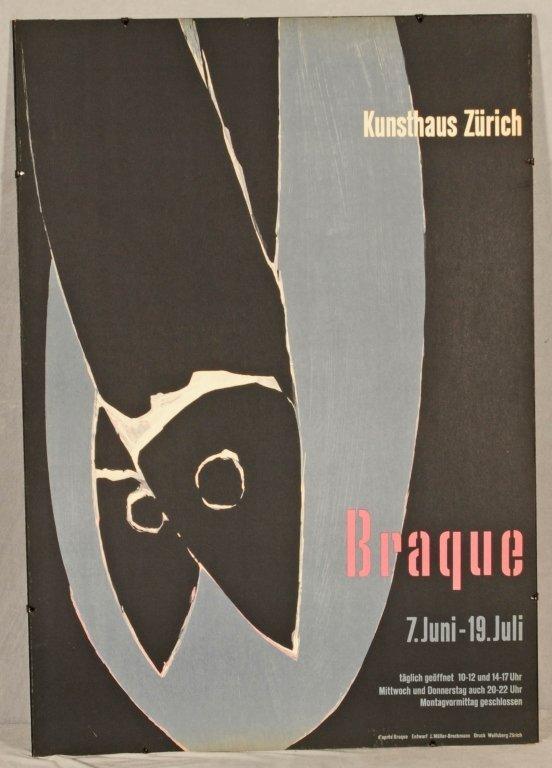 """BRAQUE POSTER ENT. """"KUNSTHAUS ZURICH"""". GOOD. 39 1/2"""" H"""