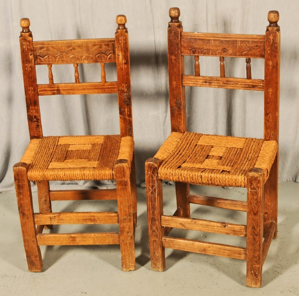 PR. CARVED PINE SIDE CHAIRS WITH RUSH SEATS. 1 CHAIR NE