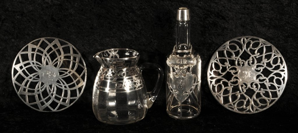 4 SILVER OVERLAY PIECES. CONSISTING OF A DECANTER WITHO
