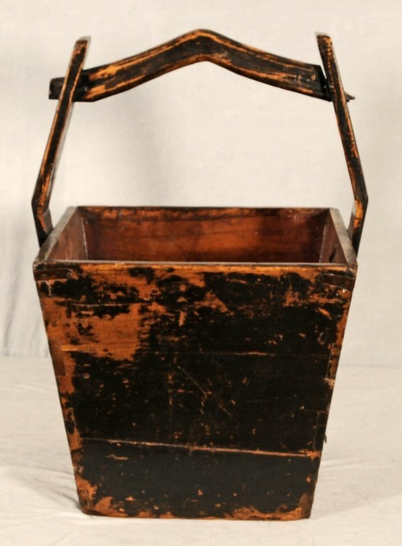 ANTIQUE ORIENTAL WATER BUCKET. HAND MADE WITH IRON BOLT