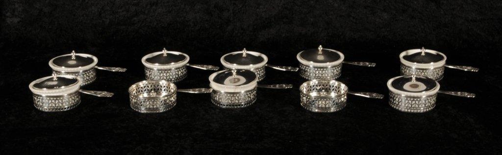 10 STERLING SILVER HANDLED RAMEKIN HOLDERS WITH LIDS. L