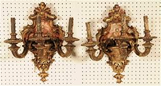 PR ITALIAN WOOD CARVED 3 LIGHT WALL SCONCES FLORAL AN